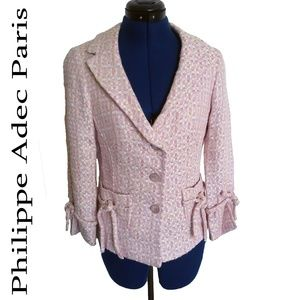 Philippe Adec Pink Tweed Blazer SZ 4 Paris